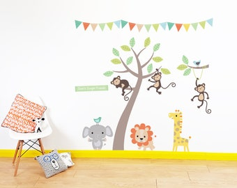 Personalised Jungle Animals Wall Stickers