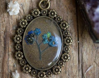 Forget Me Not Pressed Flower and Resin Necklace