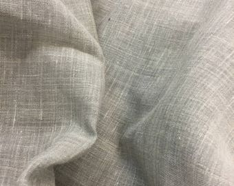 remnant grey linen/poly sheer fabric