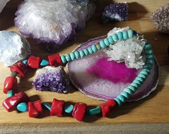 Tibetan Red and turquoise coral necklace