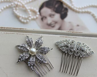 Art Deco Hair Comb , Vintage Style Crystal Hair Comb, Art Deco headpiece, Bridal Headpiece, Wedding Hair Comb
