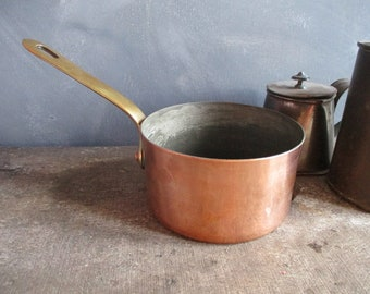 French  copper saucepan.Quality vintage French copper.Homestead copper pan. Heritage pans.Kitchen decor.Copper cookware.French vintage.