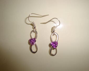 Pink lilac twisted earring