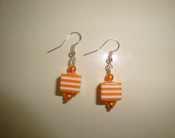 resin orange and white striped cube earring