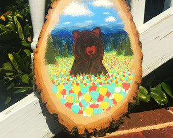 Wooden Bear Painting