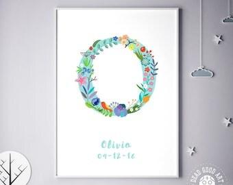 Initial Art, Is for, Gift Idea, Baby Art Print, Baby Artwork, Children Room, Nursery Name, Ohanna, Olina, Olita, Osanna, Birthday