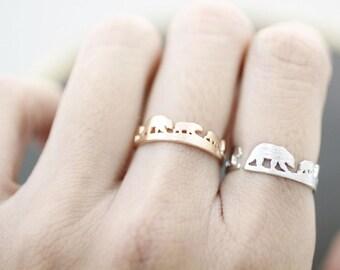 Bear Family Ring, Polar Bear Ring, White Bear family ring Cute Bear adjustable ring in 3 colors