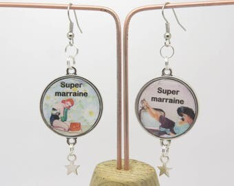 EARRINGS retro and vintage style gift for a GODMOTHER with CABOCHON THEME PIN UP clip option