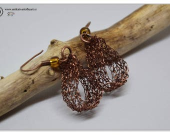 Crocheted Wire Earrings, Wire Jewelry, Wire Earrings, Brown Earrings, Dangle Earrings, Crochet Jewelry, Gift for Women, Valentines Day Gift