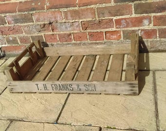 Vintage wooden crate, storage box or planter rustic country farmhouse