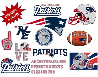 NEW ENGLAND PATRIOTS Clipart Images Including Inspired True Type Font,  Alphabets, Numbers, Symbols, 300 Dpi .png Transparent Background