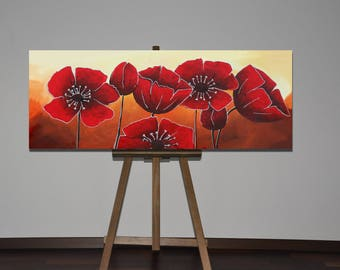 abstract painting, acrylic painting, flowers painting, poppies painting