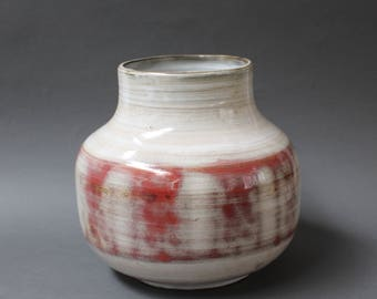 Red and White Glazed Ceramic Vase by Jacques Pouchain