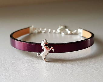 Metallic Purple flat leather bracelet bright mirror effect, Unicorn