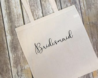 Bridesmaid Tote - Bride Bag - Bridal Party Canvas reusable bag - mother of the bride - matron of honor - maid of honor - Bridal Party gift