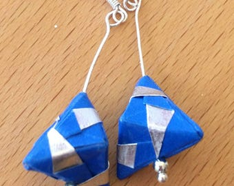 Silver and Blue Origami Jewelry - Pyramid Paper Earrings - Paper Jewelry - Moular Origami Earrings-Dange Earrings