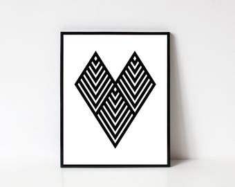 Valentines Day Wall Art, Heart Wall Art, Heart Printable, Geometric Print, Modern Wall Art, Line Art, Black and White, INSTANT DOWNLOAD