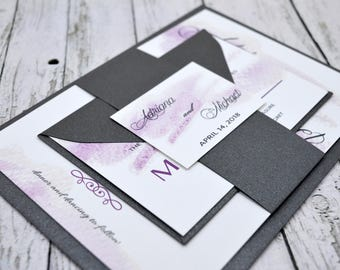 Wedding Invitation Watercolor Purple and Gray Thermography (Raise Ink)