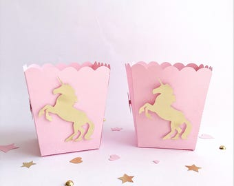 Unicorn Popcorn Candy Boxes Pink Gold Unicorn 1 st Little Girl Birthday Baby Shower Decorations Unicorn Baby Nursery Party Favor Bags