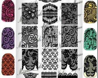 Nail art stamping plaque Marianne ongles dentelle 101