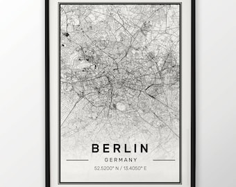 Berlin City Map Print Modern Contemporary poster in sizes 50x70 fit for Ikea frame 19.5 x 27.5 All city available London, New York Paris