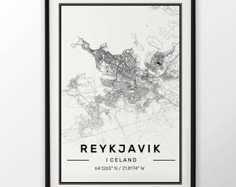 Reykjavik City Map Print Modern Contemporary poster in sizes 50x70 fit for Ikea frame 19.5 x 27.5 All city available London, New York Paris