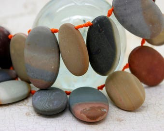 Picasso Jasper Gemstone Natural Flat Oval Beads