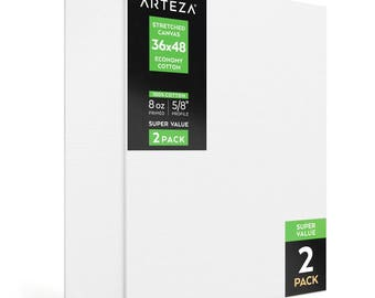 Arteza 36x48 Stretched Canvas, Economy-Cotton (Pack of 2)