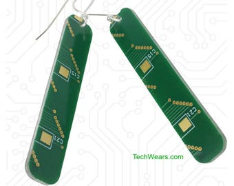 Green Circuit Board Earrings - Dangling Rectangle Shape Cutout of a Recycled Motherboard includes Sterling Silver Earwire