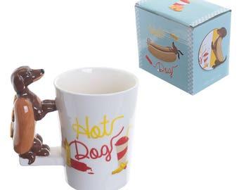 Fun Hot Dog in a Bun Shaped Handle Ceramic Mug