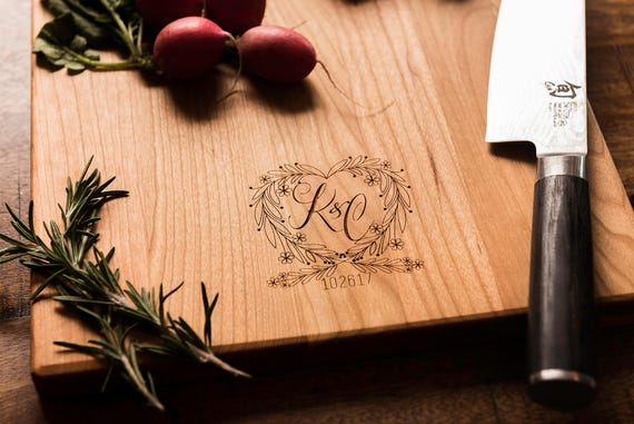 Valentines Day Gift, Wood Charcuterie Cutting Board, Personalized, Monogrammed Heart, Engagement Wedding Anniversary Gift for Him Her Couple