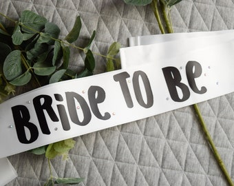 Bride To Be, hen party sash, bachelorette sash, bride to be sash, black and white sash, hen sash, bridal sash