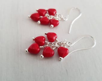 Vintage red hearts glass beads, wire wrapped, silver plated  earrings.