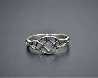Sterling Silver Ring of two Celtic Trinity Knot