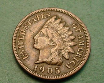 Indian Head Cent 1905 Very Fine<> FREE SH to United States<> # ET3445