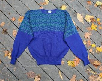 80's Vintage Old Man Ski Sweater, Large