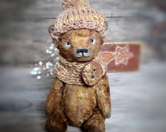 "Teddy Bear ""Toffee"", plush stuffed animal, handmade toy"