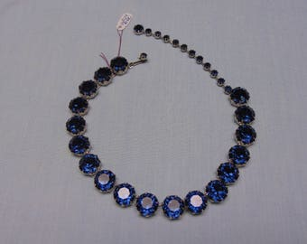 50s Blue Rhinestone Necklace Fashionable For Weddings, Proms, Cruise ,Dinner Parties