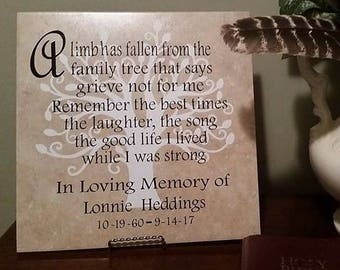 A Limb has fallen, In Memory of, Personalized, Family Tree, Grief, Plaque,