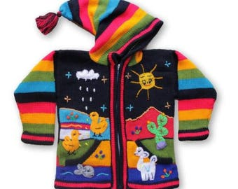 Peruvian kids wool sweater cardigan with Embroidered details