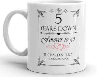 Personalised 5th Wedding Anniversary Gift Mug