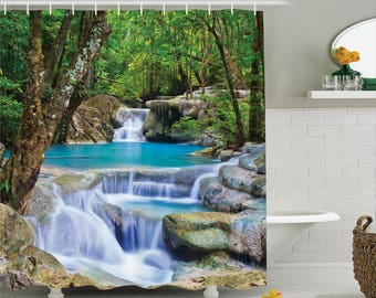 Green shower curtain etsy for Waterfall design etsy
