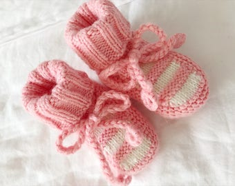 Pink Baby Booties | Knitted Baby Booties | Baby Girl Booties | Hand Knit Stripe Baby Booties