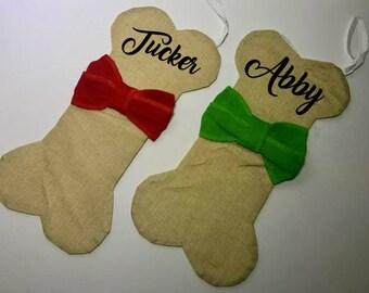Personalized Dog Bone Stocking - pet stocking - Christmas Gifts - Canvas Tote- Christmas tote - Holiday Sacks - Holiday Bags - Santa Sack