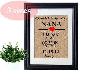 Mothers Day Grandma Gift Personalized Mothers Day Gift for Grandmother Gift Family Tree Kids Name Wall Art, Mothers Day Nana Gift from Kids