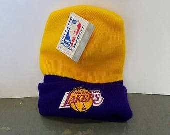 New Year SALE 15% Off NWT Vintage 90's NBA Los Angeles Lakers Beanie Hat