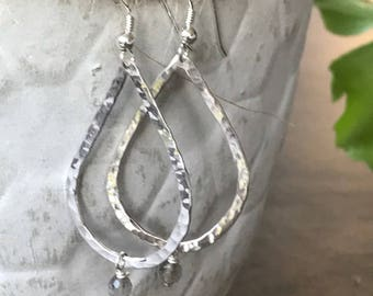 Sterling Silver Hammered Teardrop Labradorite Gemstone Earrings
