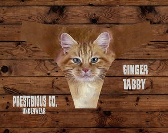 Ginger Tabby Cat Thong - Tabby Face Underwear - Frilly Underwear - Kitty underwear - Catwear - ginger cat - tabby gift - ginger gifts