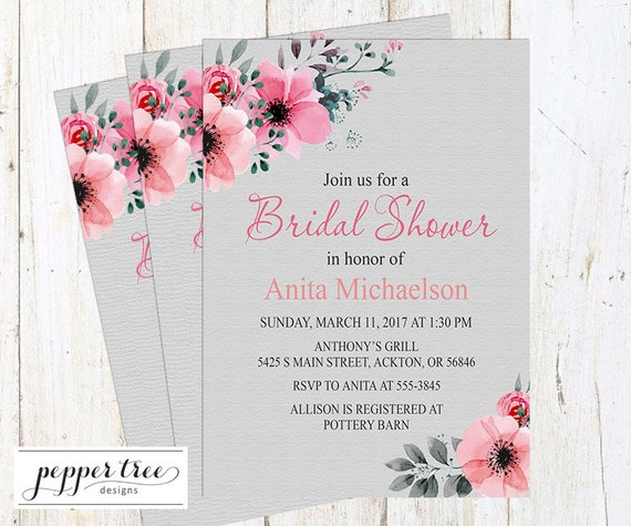 Floral Bridal Shower Invitation Pink And Gray