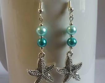 Blue pearl, starfish dangle earrings